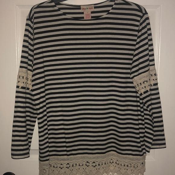 Striped long sleeve blouse, crochet lace detail